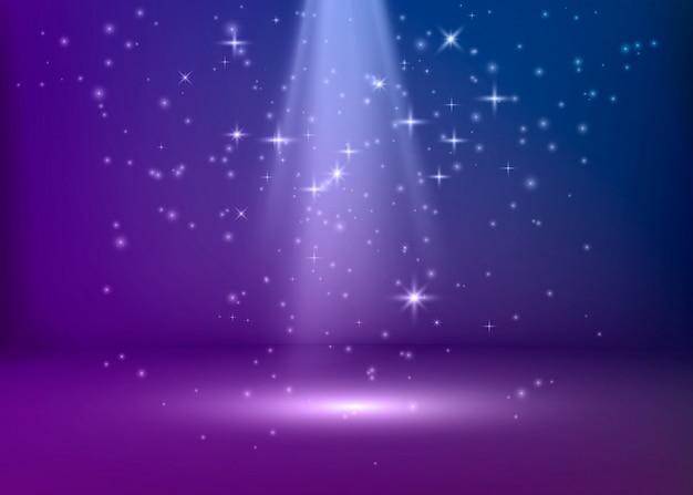 シーンは青と紫の光で照らされています。バイオレットの舞台背景。図
