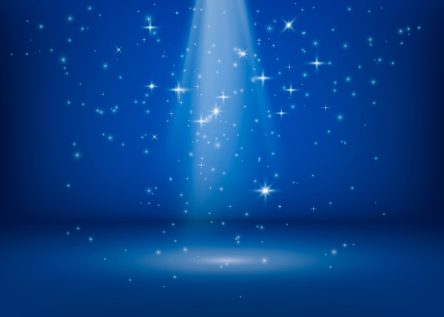 シーンはサーチライトで照らされています。鮮やかなきらめく光。魔法の奇跡の光沢のあるスポット。キラキラ星の背景。図