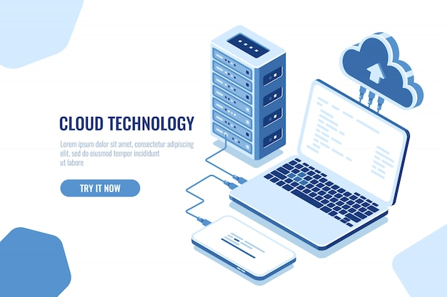Схема передачи данных, изометрическое защищенное соединение, облачные вычисления, серверная комната, датацентр