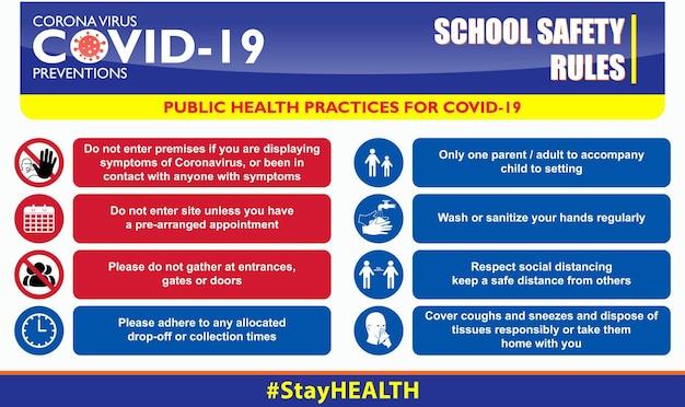Covid19 또는 건강 및 안전 프로토콜에 대한 학교 안전 규칙 포스터 또는 공중 보건 관행