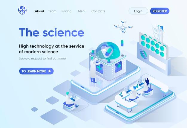 Наука изометрической целевой страницы. научные исследования и разработки, высокие технологии в фармацевтике. шаблон научной лаборатории для cms и веб-сайта. изометрия сцены с людьми персонажами.