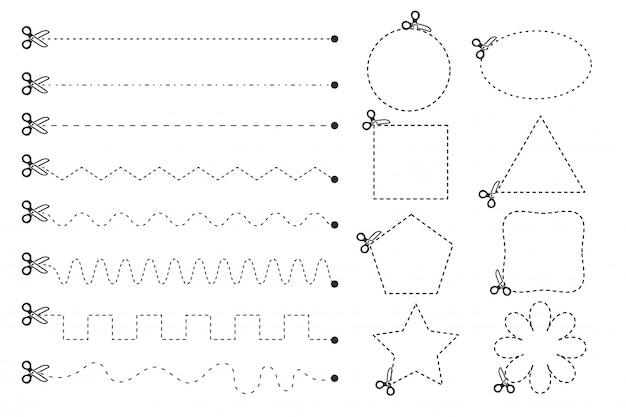 Ножницы, которые вырезаны по пунктирной линии геометрии.