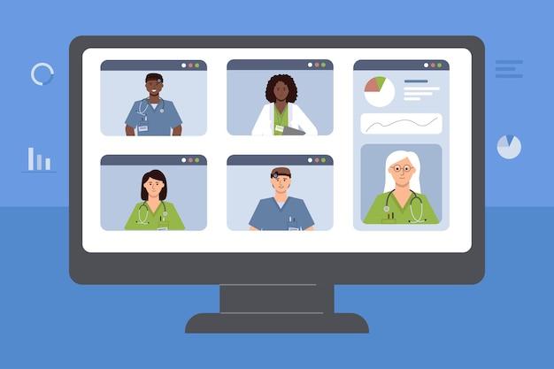 의사들의 화상회의가 그려진 모니터의 화면. . 의료 전문가의 온라인 회의 개념입니다.