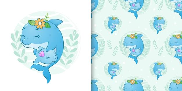Бесшовные иллюстрации дельфина с маленькими цветочками держит своего ребенка
