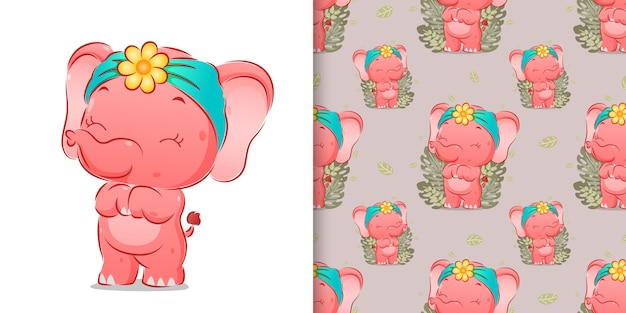 Бесшовные милого слона стоит с очень счастливым лицом иллюстрации