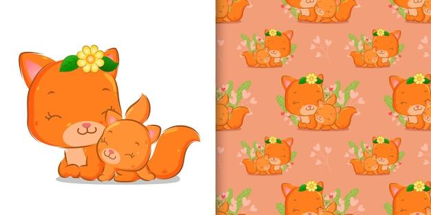 Бесшовные счастливого кота с цветком на голове сидит с младенцем иллюстрации