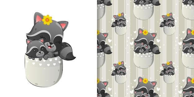 Бесшовные счастливого енота сидит в кармане со своим младенцем иллюстрации