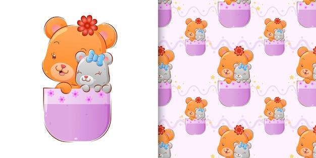 Бесшовные счастливые два разных счастливых медведя сидят в розовой милой чаше с иллюстрацией