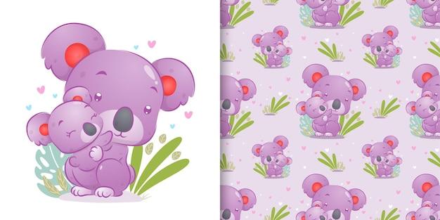 Бесшовные разноцветные коалы несут своего ребенка и сидят на траве иллюстрации