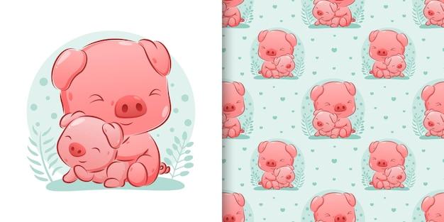 Бесшовные толстая свинья, сидящая с поросенком, красивый фон иллюстрации Premium векторы