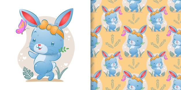 Бесшовные счастливого кролика с лентой, идущего рядом с бабочкой иллюстрации