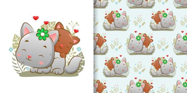 イラストの幸せそうな顔で庭で一緒に遊んでいる2匹の子猫のシームレス