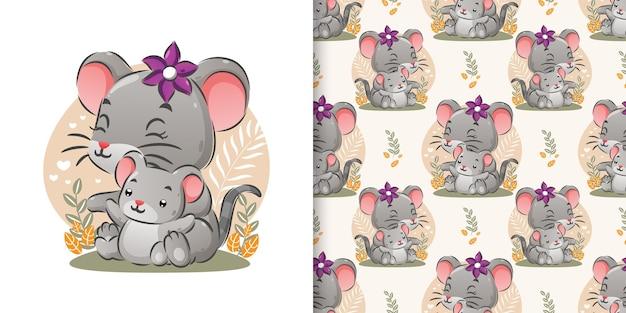 Бесшовные две мыши, сидящие вместе в саду с простыми растениями иллюстрации