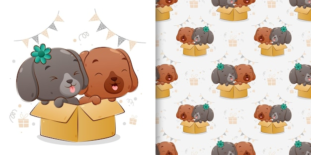 Бесшовные двух щенков, стоящих у большой коробки с счастливым лицом иллюстрации