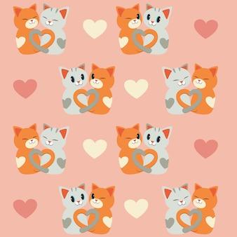 猫と心のシームレスパターン。猫のカップルの愛。