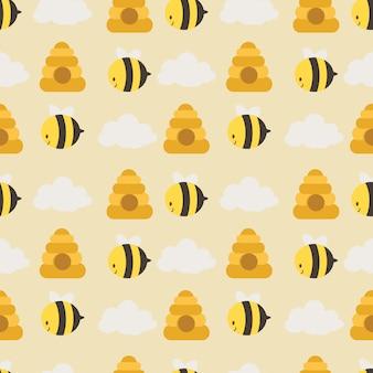 かわいい蜂とハニカムと白い雲のシームレスパターン