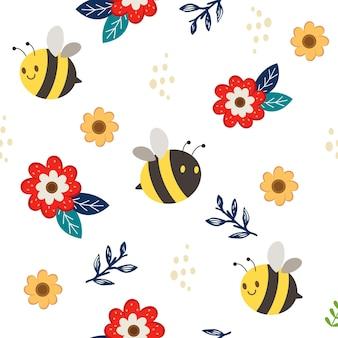花と葉がフラット スタイルのかわいい蜂のシームレス パターン。