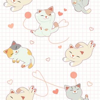 かわいい猫と心と糸のシームレスパターン。
