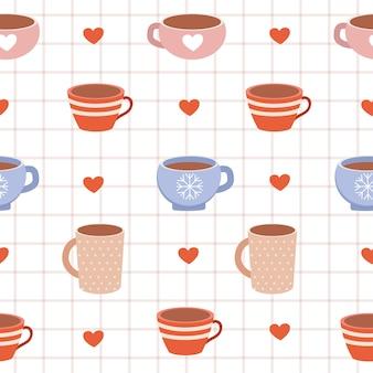 かわいいカップとハートのシームレスパターン