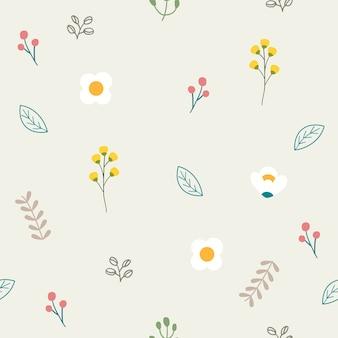 Бесшовный узор милый цветок в плоском векторном стиле. иллюстрация цветка и листа