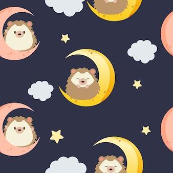 月と雲と青い背景の星の上に座ってかわいいハリネズミのシームレスパターン。月と星のパターン。フラットスタイルのかわいいハリネズミのキャラクター。