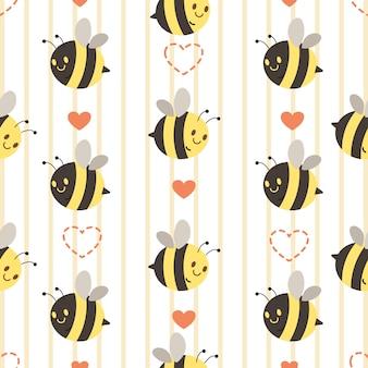Безшовная картина милой желтой и черной пчелы с сердцем. характер милая пчела с сердцем. персонаж милая пчела в стиле плоский вектор. Premium векторы