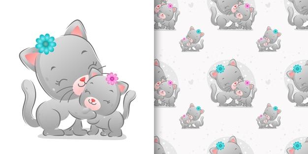 イラストの小さなヘアクリップを使用した色付きの兄弟猫のシームレスなパターン
