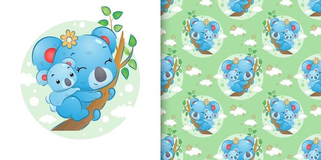 小さなコアラのシームレスなパターンは、赤ちゃんを背負ってイラストの枝にとどまります