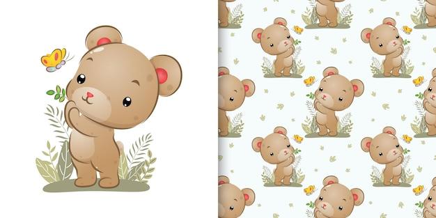 Бесшовный узор из маленького медведя, ловящего красивую бабочку в саду иллюстрации