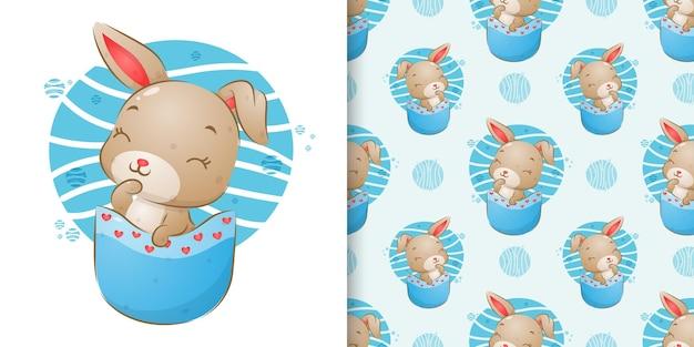 Набор бесшовных узоров кролика выходит из маленького кармана иллюстрации