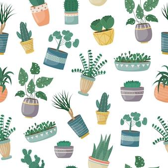 Бесшовный фон с комнатными растениями в горшках. посадка растений. декоративные растения в интерьере дома. плоский стиль.