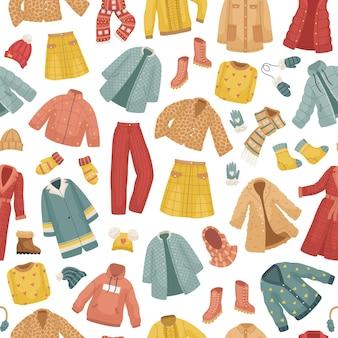 Бесшовный фон с зимней одеждой. пальто, векторный набор зимней одежды. пальто, шапки, перчатки, обувь и носки.