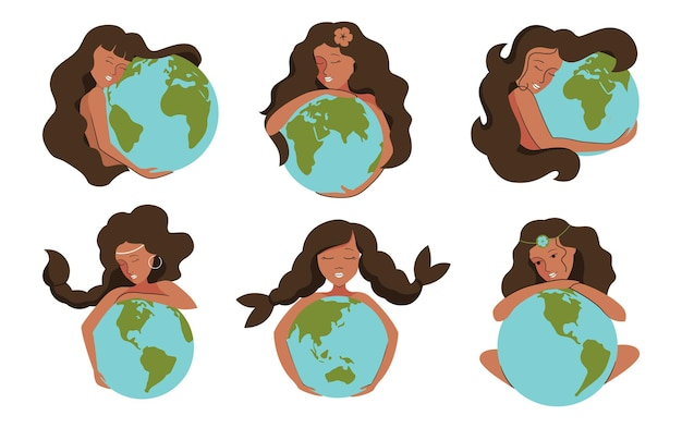 Набор африканских девушек и планет. женщины обнимают землю, чтобы спасти планету.