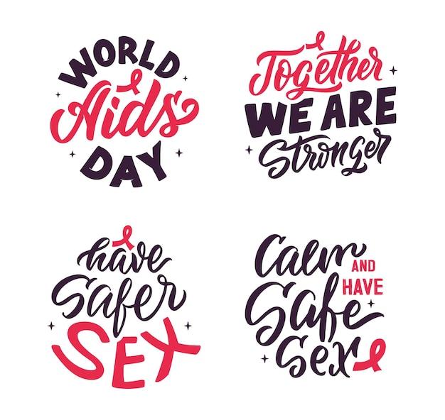 Набор значков с цитатой подходит для всемирного дня борьбы со спидом, наклейки. это буквенные фразы о безопасном сексе. векторная иллюстрация