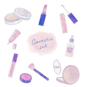化粧品のセット。白い背景に。