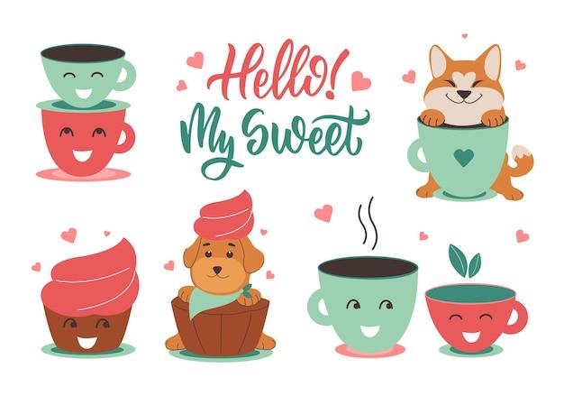 愛のカップと犬のセット春のデザインのペットの日のための引用カップケーキと子犬