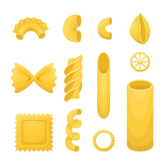 다양한 종류의 이탈리아 파스타 세트.