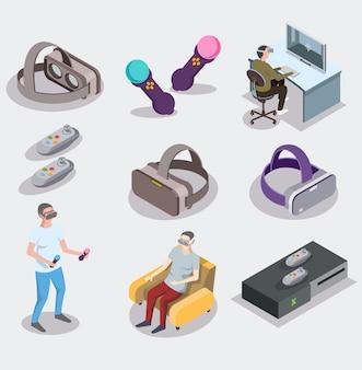 가상 증강 현실의 요소 집합은 등각입니다. 삽화. 남자가 게임을하고있다. 남자는 집에서 의자에 앉아 가상 현실 헬멧에서 영화를보고