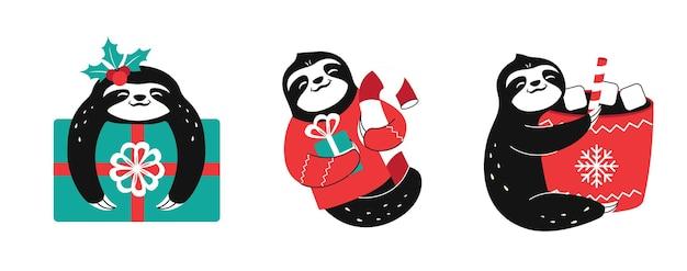 面白いナマケモノのセットはクリスマスのデザインに適しています黒と白の怠惰な動物
