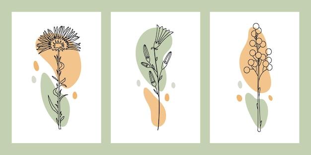 ドライフラワーと葉のグリーティングカードのセットです。植物標本のデザイン。