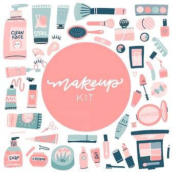 手描きの美容と健康アイテムのセット。カスタムレタリングを使用したデザインのオブジェクト。メイクアップと化粧品のコレクション。トップビューの構成。手描きフラットイラスト。