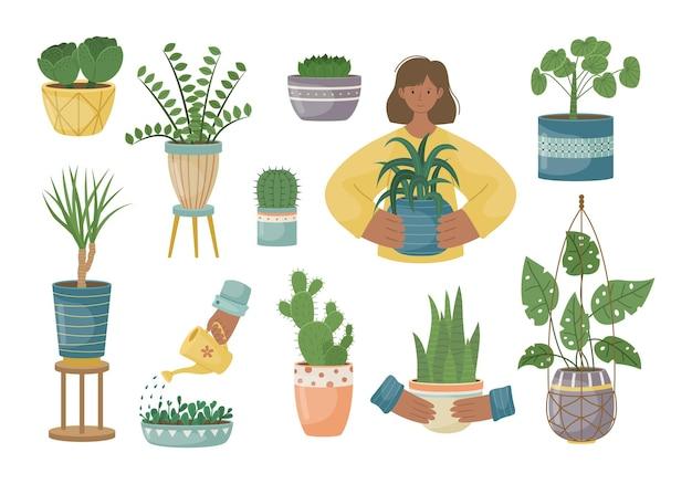 Набор комнатных растений в горшках. посадка растений. декоративные растения в интерьере дома. плоский стиль.