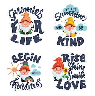 Набор буквенных фраз с гномиками коллекция хороша для детских дизайнов