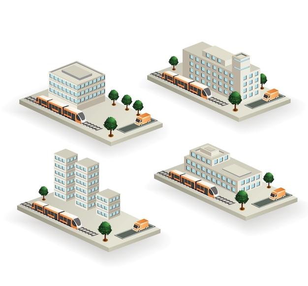 도시 교통 벡터 건물의 집합