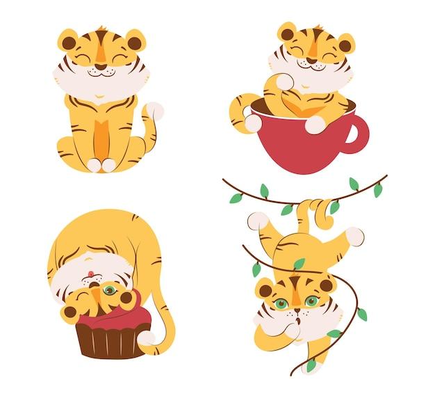 Набор диких тигров с какао-кексом оставляет милых животных для логотипов