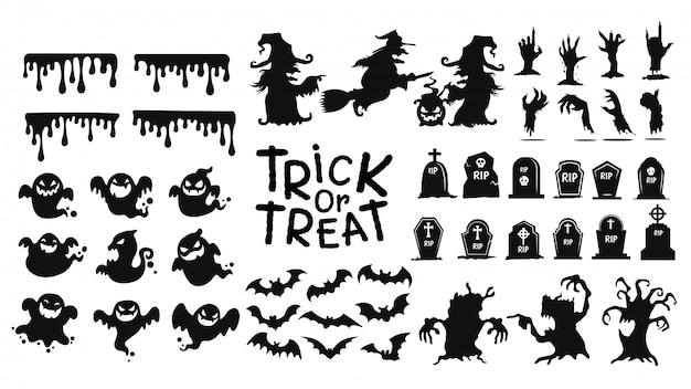 Коллекция теней призраков украшают сайт на фестивале хэллоуина.