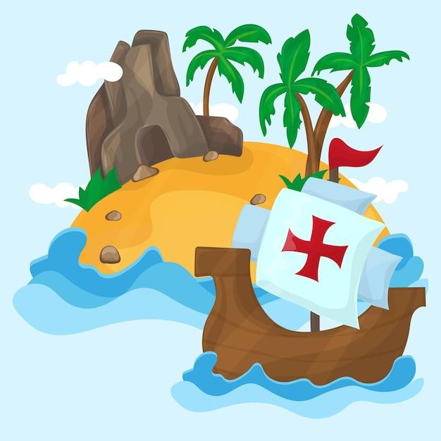 미국으로 가는 크리스토퍼 콜럼버스의 배 - 바다에 야자수가 있는 열대 섬