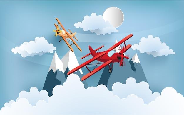 비행기의 광경은 구름과 산을 건너고 있습니다. 디자인 종이 예술과 공예