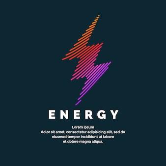 Знак энергии. цветная молния из динамичных линий на темном фоне. яркие векторные иллюстрации