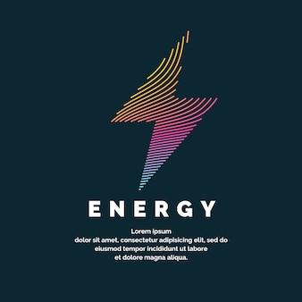 エネルギーの兆候。暗い背景のダイナミックラインのカラージッパー。明るいベクトルイラスト